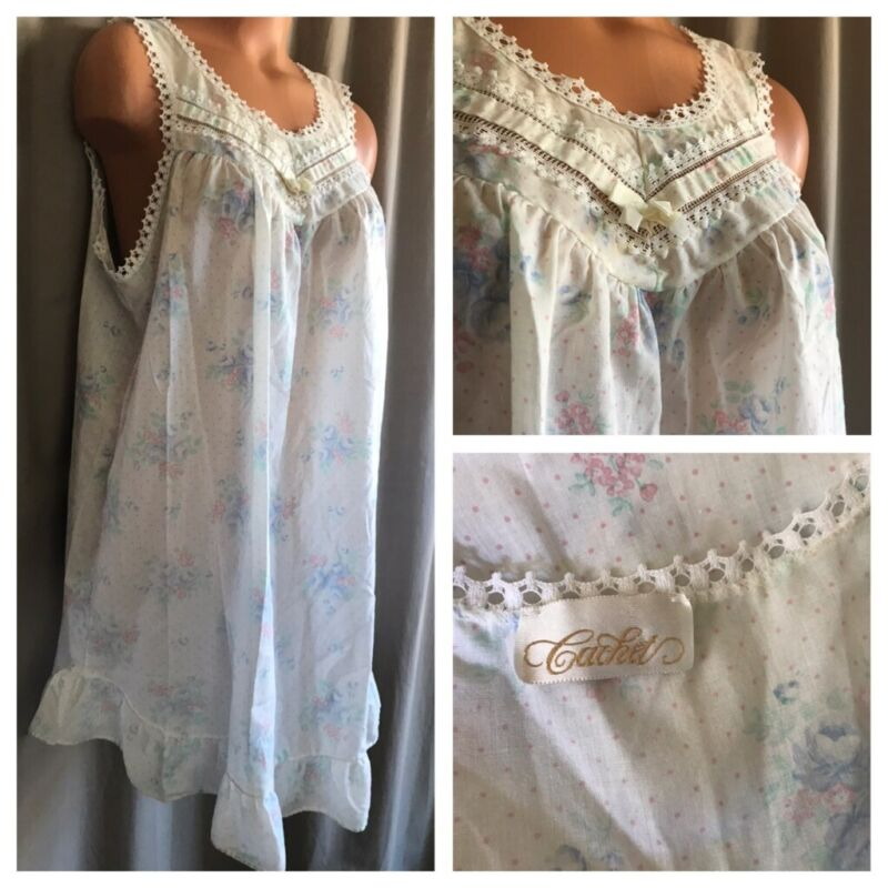 VTG Cachet Cool Sheer Cotton Blend Nightgown Polka Dots Flowers Babydoll Gown L