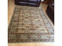Duck egg blue and brown rug