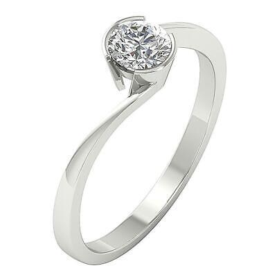 Semi Bezel Solitaire Setting - Solitaire Engagement Ring I1 G 0.55 Carat Round Diamond Semi Bezel Set 14K Gold
