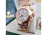 White faced Rolex Daytona with Gold bezel & all gold oyster bracelet comes with Rolex box bag