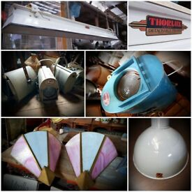 Various lights enamel, church, blast proof, Benjamin etc.