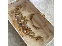 Bespoke bridal hair comb and matching bracelet
