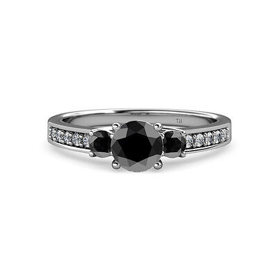 Black Diamond Three Stone Ring with Side Diamond 1.49 cttw 14K Gold (Engagement Rings With Black Diamond Side Stones)
