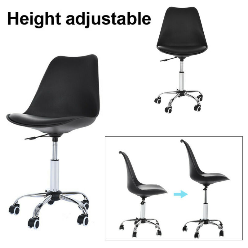 Office Desk Chair PU Leather Middle Back Armless Swivel Task