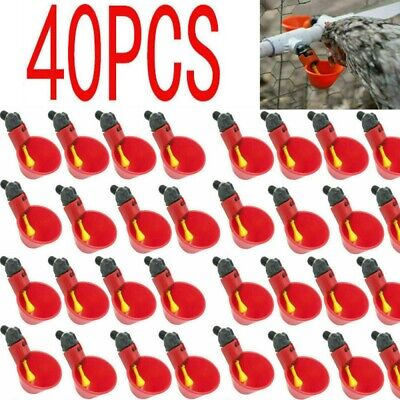 40x Poultry Water Drinking Cups- Chicken Hen Plastic Automatic Drinker New Us