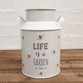 White Painted Steel Storage Churn Container