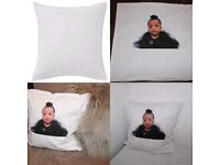 Custom white cushion cover with image printed