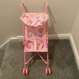 Small toy pram - pink - 55cm tall