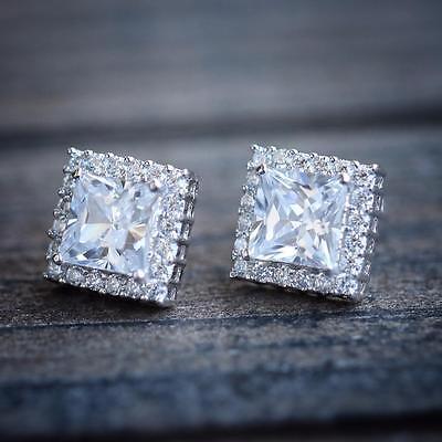 Mens Womens Square Cushion Cut White Gold Plated Lab Diamond Stud Earrings