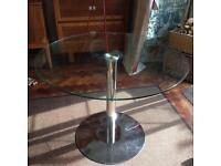 FUNKY RETRO JOHN LEWIS HND INGRID 4 SEATER GLASS & CHROME ROUND DINING TABLE