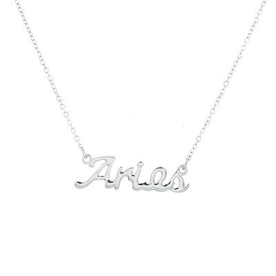 Lux Accessories Horoscope Zodiac Sign Aries Silver Necklace