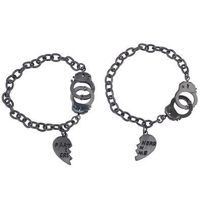 Lux Accessories HematiteTone Partners in Crime BFF Best Friends Bracelet Set - Best Friends Bracelet
