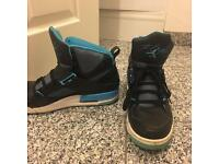 Black and blue Jordan trainers