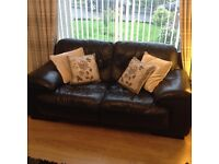 Black leather suite / sofa