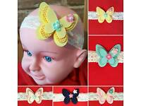 Babies Girls Lace Elastic Headband with BUTTERFLY