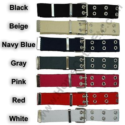 - Double Grommet Fabric Belt 2-Hole Row Canvas Web Studded Punk Rock Biker Womens