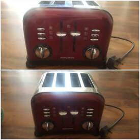 Morphy Richards red four slice toaster
