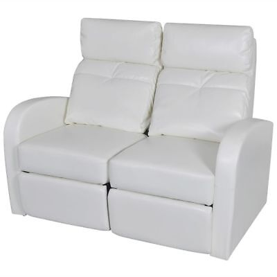 Home Theater 2-Seat Recliner White Artificial Leather Lounge Movie Cinema Seats