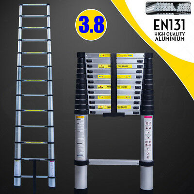 3.8M Multi-Purpose Aluminium Telescopic Ladder Extension Extendable 150KG EN131