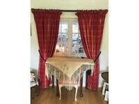 Two Pair Full Length Lined Plaid Curtains