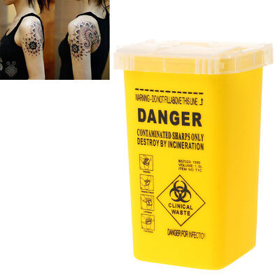 1l Tattoo Medical Plastic Sharps Containers Biohazard Needles Disposal Waste Box