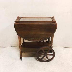 Solid Walnut Gibbard Tea Trolley Cart With Glass Tray And Drawer