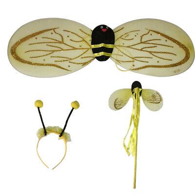Bienen Set Haarreif Fühler Flügel schwarz gelb Biene Kostüm - Biene Flügel Fühler Kostüm