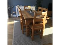 Farmhouse style solid wood table and 6 chairs