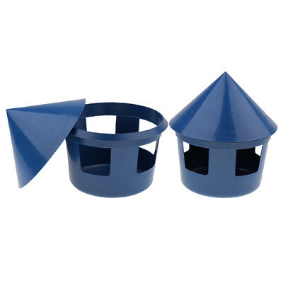 2 Pcs Pigeon Feeder Water Food Feeding Dish Birds Hanging Cage Bowls Blue
