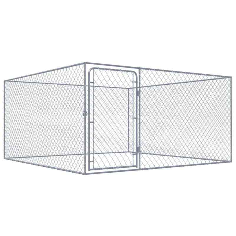 "vidaXL Outdoor Dog Kennel Heavy Duty Galvanized Steel 72.8"" Square Pet Playpen"