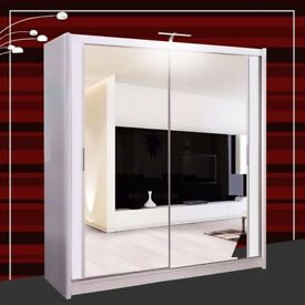 New Double Door Mirrors Sliding Wardrobe with Hanging Rails, Shelves in 6 Awesome Colors and Sizes