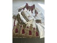 White gold and pink women's asian suit XL
