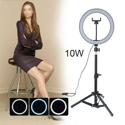 "10"" LED Ring Light w/Stand & Mount Camera Phone Studio Selfie Video Live Stream"