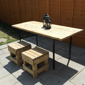 Reclaimed Wood Dining Table with 2 stools