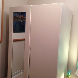 wardrobe, small double, white gloss wardrobe with single mirror on one door. Exceptional condition.