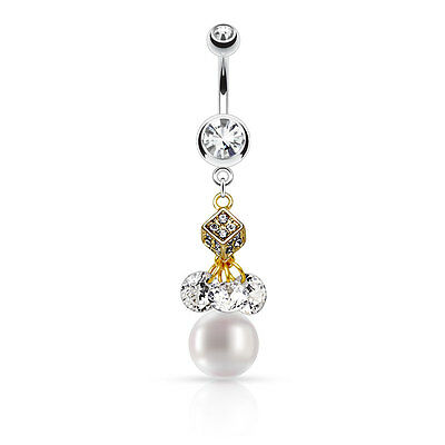 Pearl Dangle Double Gem CZ Surgical Steel Navel Belly Button Ring 14g 3/8