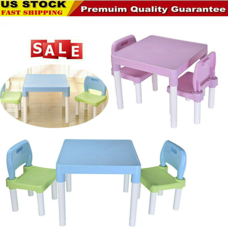 Plastic Kids Table And 2 Chairs Set, Set For Boys Or Girls T