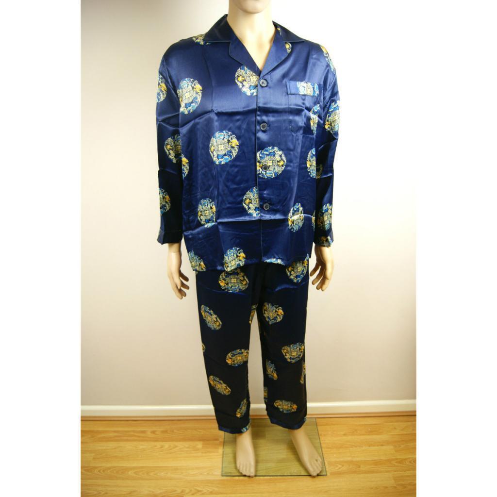 Chinese Dragons Oriental Mens Martial Kung Fu Style Top Bottom Pyjamas Pajamas