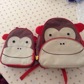 Skip Hop Zoo Monkey Backpack & Lunch Bag - AMAZING Condition!