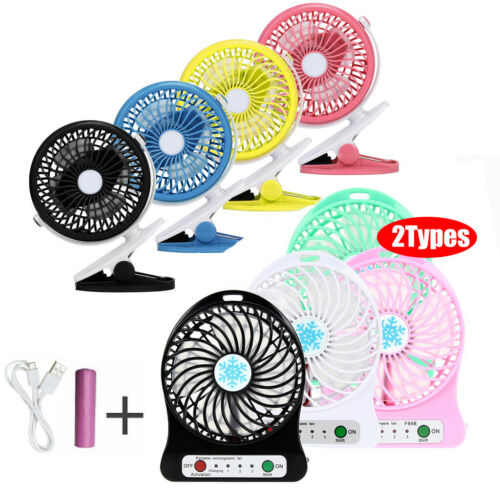 US Mini USB Rechargeable Battery Portable Fan Clip on The Ba