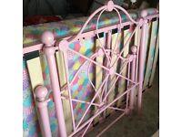 Pink metal girls bed frame and mattress