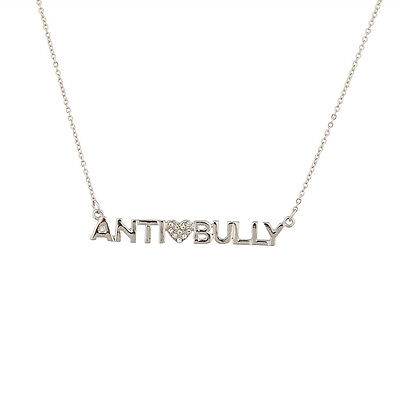 Lux Anti Bully Pave Heart Love No War School Pendant Necklace.