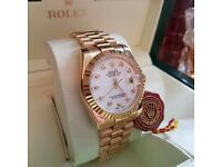 New Mens bagged and boxed good bracelet with white pearl face timestones Rolex datejust automatic wi