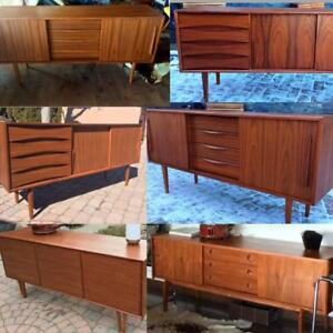 REFINISHED Mid Century Modern Teak, Walnut, Rosewood Sideboards TV Media Record Consoles Buffets Shelving from $449