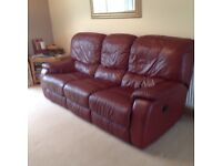 Real leather double reclining sofa in vgc