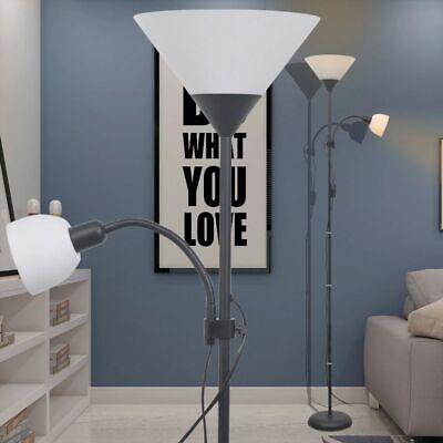 vidaXL Lámpara de Pie de Acero con Pintura Negra 2 Luces con...