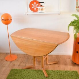 VINTAGE ERCOL CAMPDEN DROP LEAF DINING TABLE - ELM & BEECH WOOD (LIGHT) UNUSUAL DESIGN
