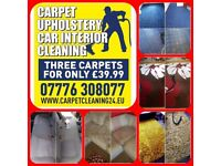 3 rooms 39.99£- Carpet and Upholstery cleaning service -BOOK ONLINE with20% discount 07776308077
