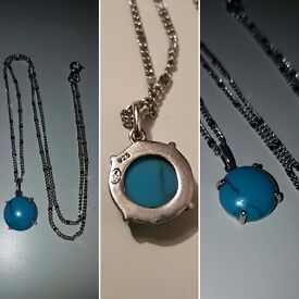Sterling silver stone pendant with chain