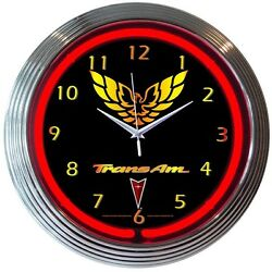 GM Trans Am Racing Neon Clock 15x15